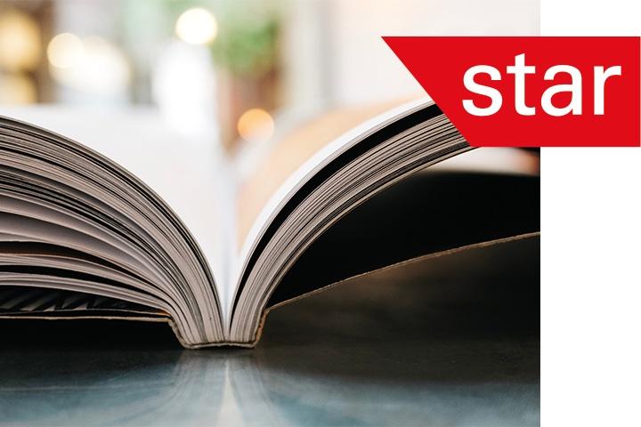 Star, open book